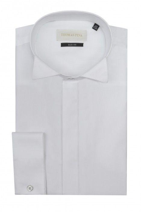 Camicia sposo bianca microstruttura VIALONE